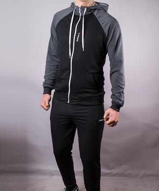 КупитиСпортивний костюм чоловічий Reebok чорний сірі плечі на блискавці з  капюшоном фото c61487026ca55