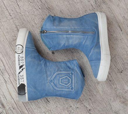 b5ab83b12 ... Купить Сапоги женские джинсовые на платформе светлые Jeans fashion  фото, в интернет-магазине обуви ...