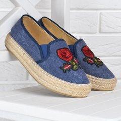 1a9e2e629d3587 КупитиЕспадрільі жіночі джинсові сліпони на плетеними платформі з вишивкою  сині беж фото, в інтернет-