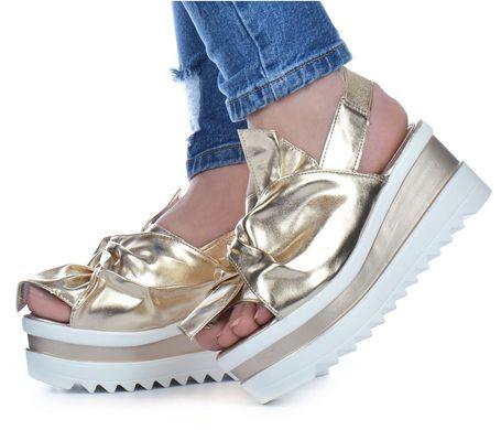 bc3f4113a8442b КупитиБосоніжки жіночі на платформі золото з бантом Brilliant Туреччина  фото, в інтернет-магазині взуття ...